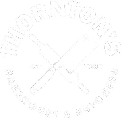 Thornton's Bakehouse and Butchers logo in white