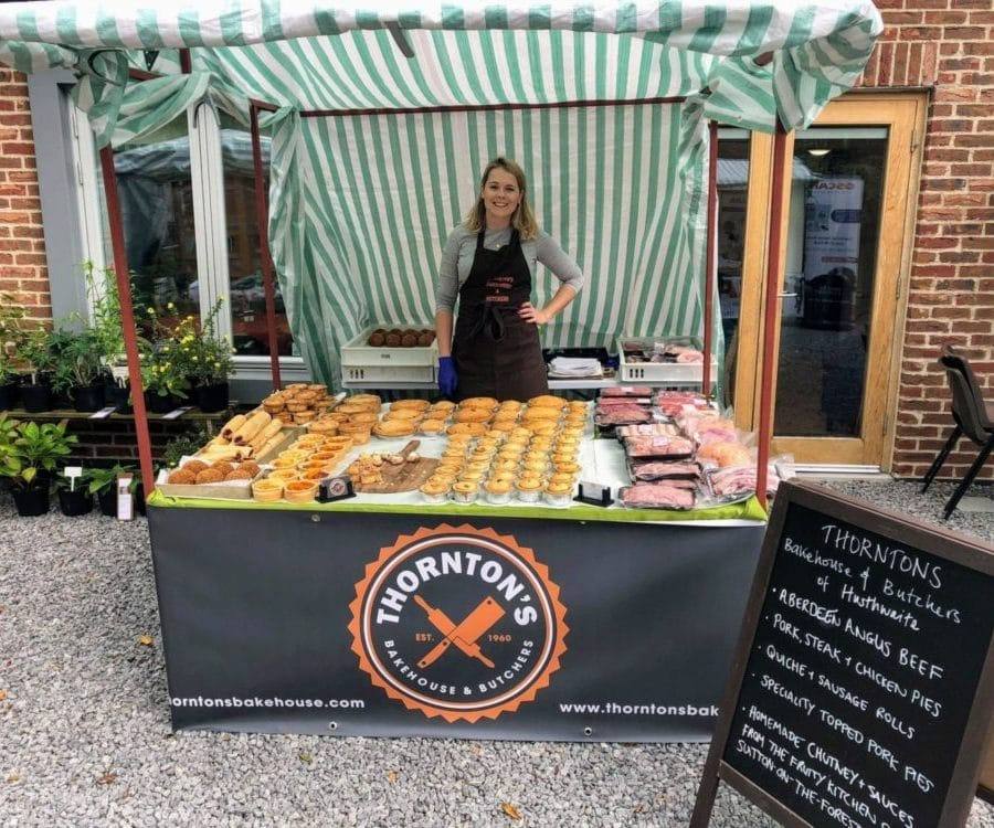 Katie from Thornton's Bakehouse and Butchers at Husthwaite Market