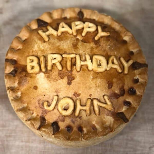 Thornton's Bakehouse Personalised Pork Pies happy birthday pie