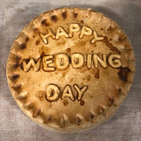 Thornton's Bakehouse Personalised Pork Pies happy wedding day pie